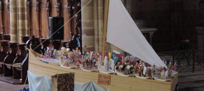 Annegray: la barque de l'Église sur le site colombanien